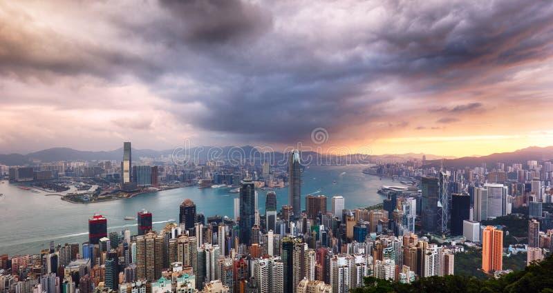Hong Kong panorama - dramatic sunrise from Victoria peak.  stock photo