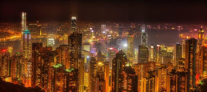 Hong Kong Panorama por noche foto de archivo