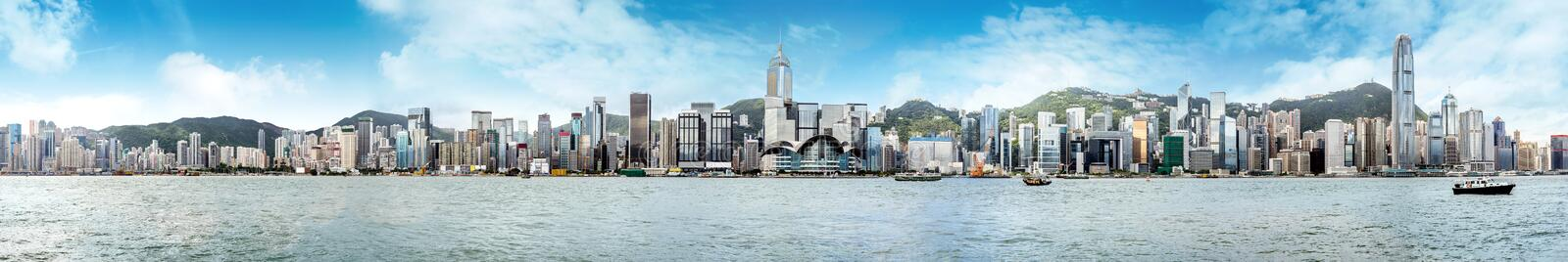 Hong Kong Panorama. Hong Kong's Victoria Harbour, the tall buildings of the financial business district royalty free stock photos