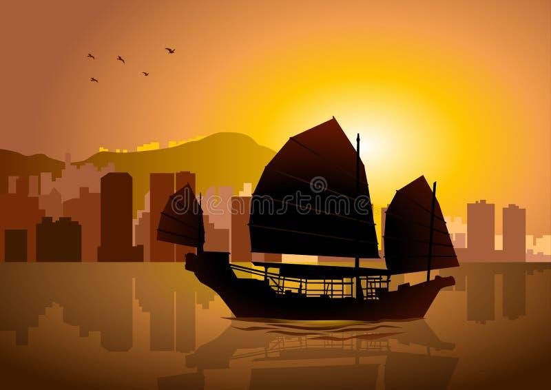 Hong Kong panoramica illustrazione vettoriale