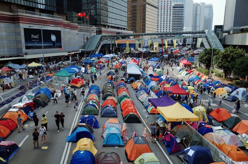 Hong Kong paraplyrevolution 2014 fotografering för bildbyråer