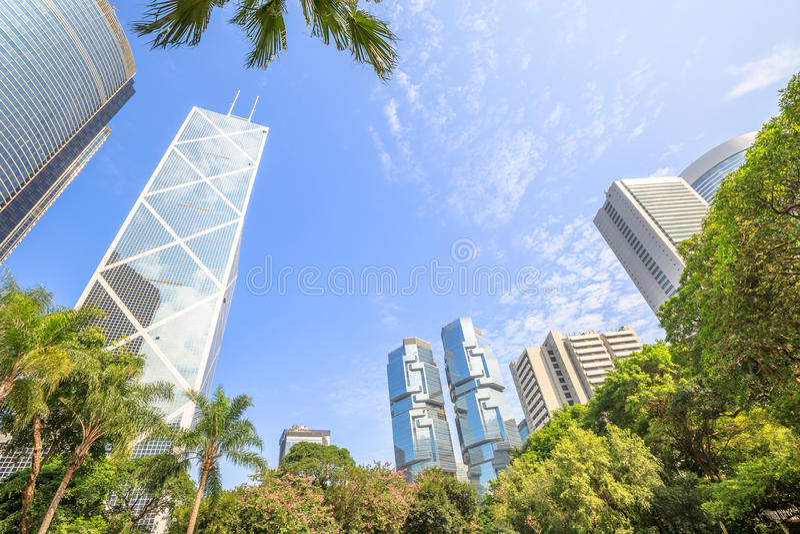 Hong Kong Park Skyline stock photography