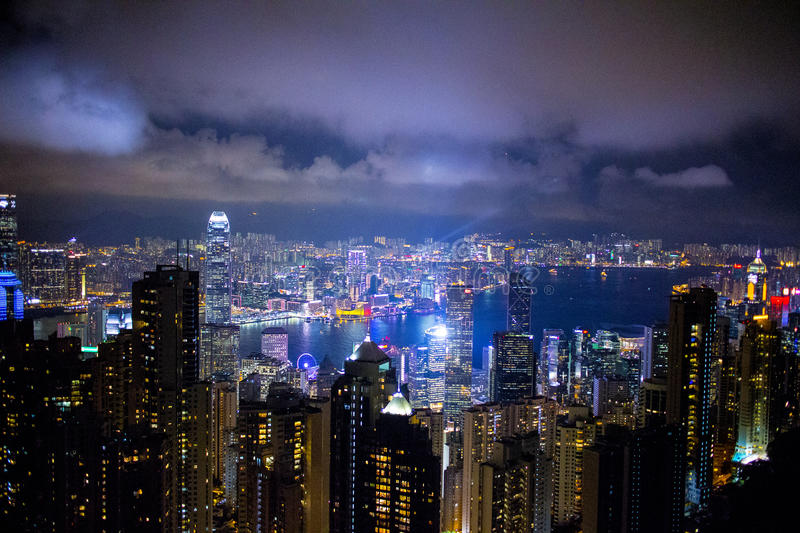 Hong Kong The Peak. The Peak Night View Hong Kong stock photo