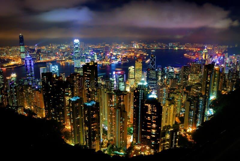 Hong Kong Peak Tram. The Peak Tram Night View from Hong Kong