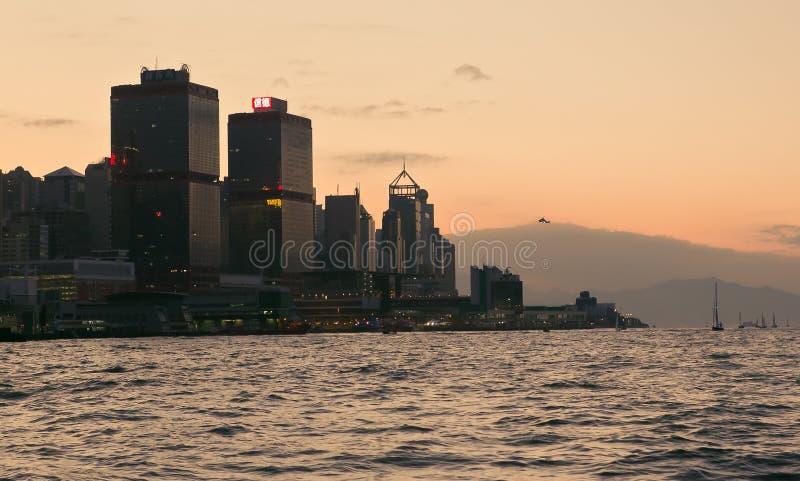 Hong Kong pendant le coucher du soleil photos libres de droits