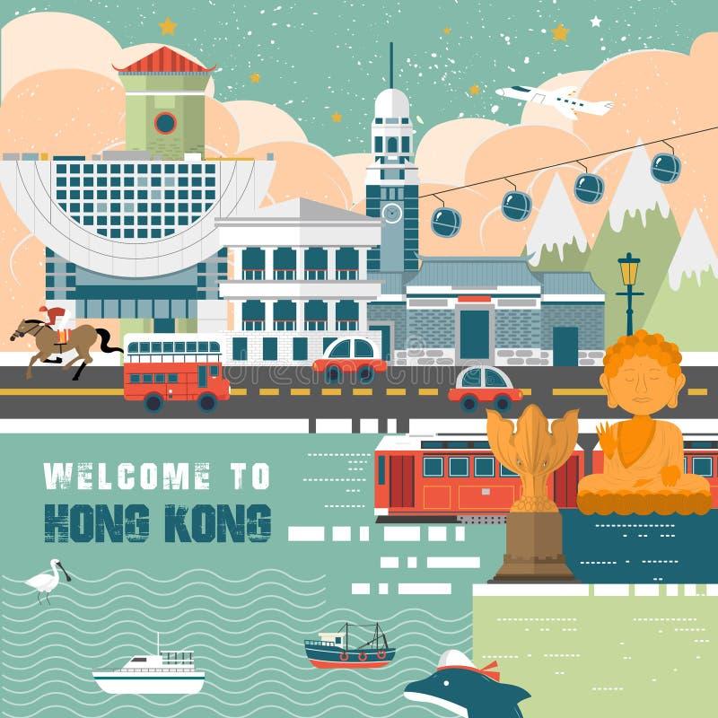 Hong Kong podróży pojęcie ilustracji