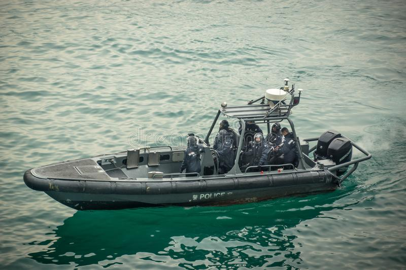 Hong-Kong-09.01.2018:The police boat in HK harbor royalty free stock photo