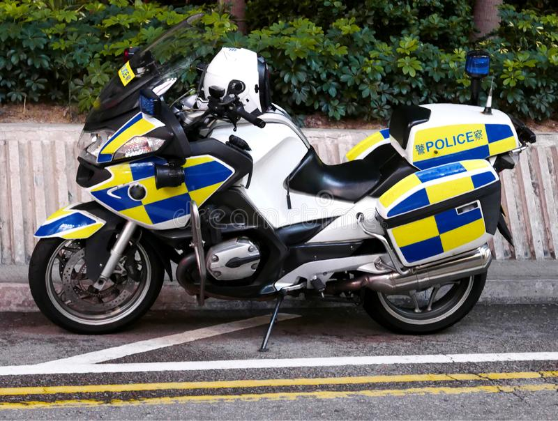 Hong Kong Police Motorbike lizenzfreie stockfotos