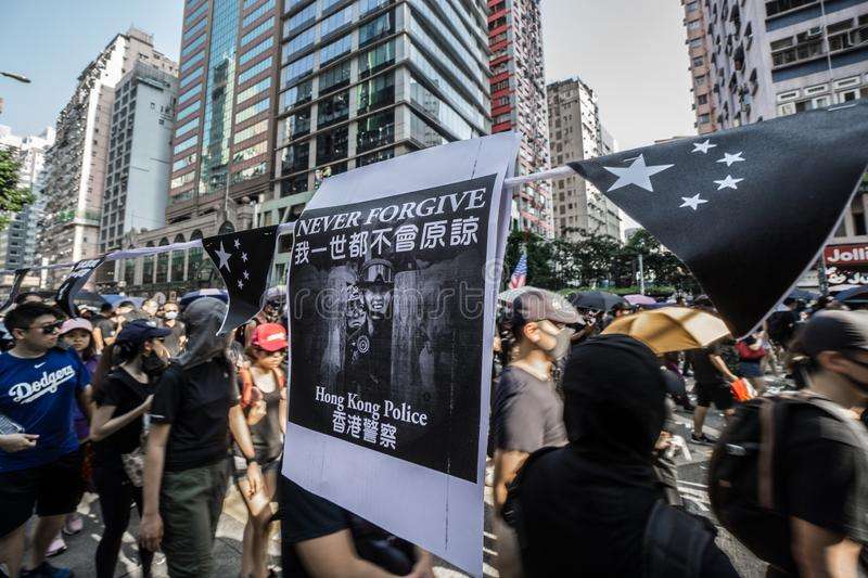 Hong Kong protest on National Day of the People`s Republic of China 2019 royalty free stock photo