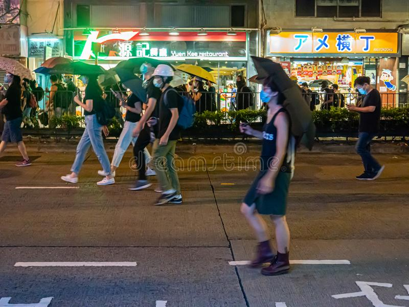 Hong Kong-protesteerders 28 juli 2019 van de anti-uitleveringsrekening stock afbeeldingen