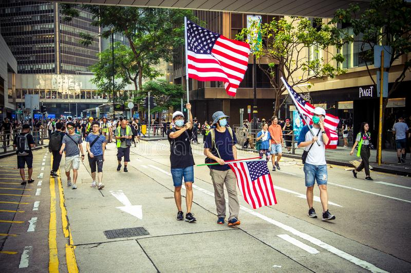 Hong Kong Protests appeal for the US to pass a bill stock photography