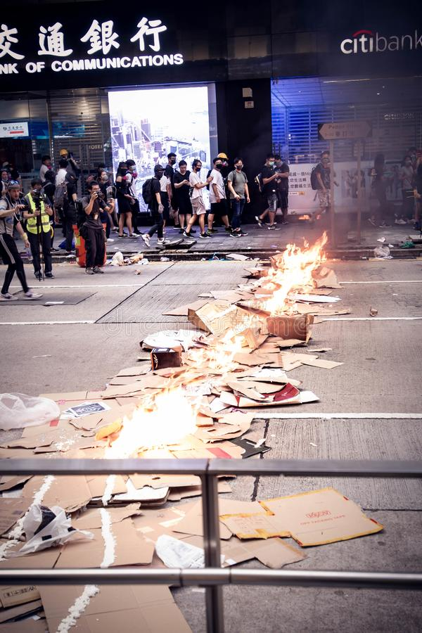 Hong Kong Protests occuping a street stock photos