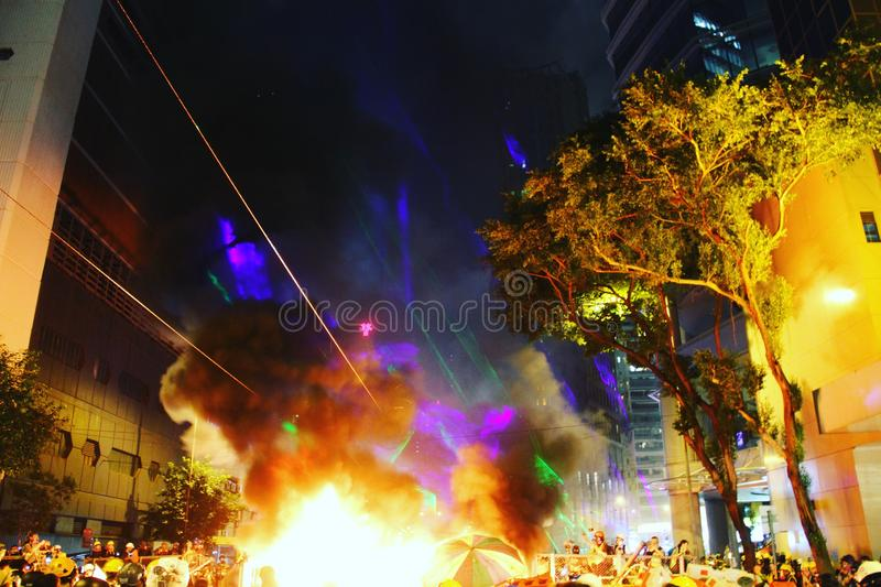 Hong Kong Protests occuping a street royalty free stock image