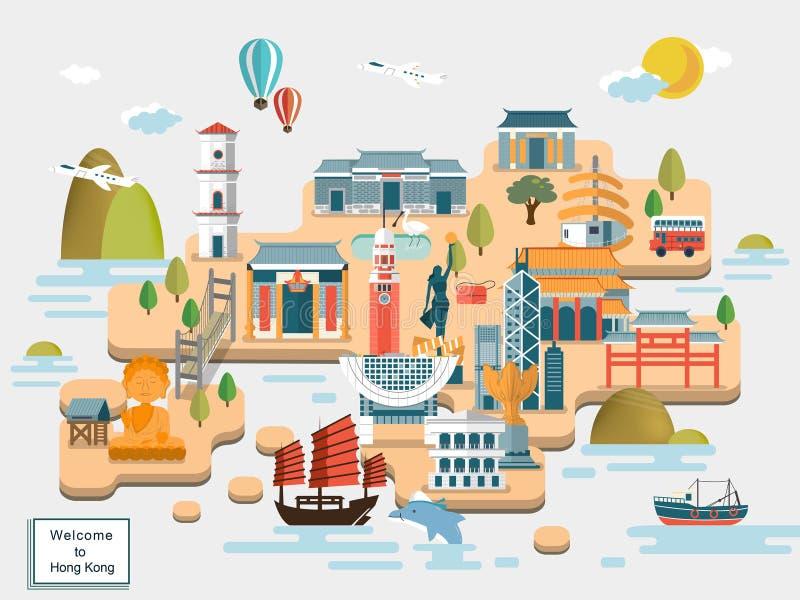 Hong Kong-Reisekarte lizenzfreie abbildung