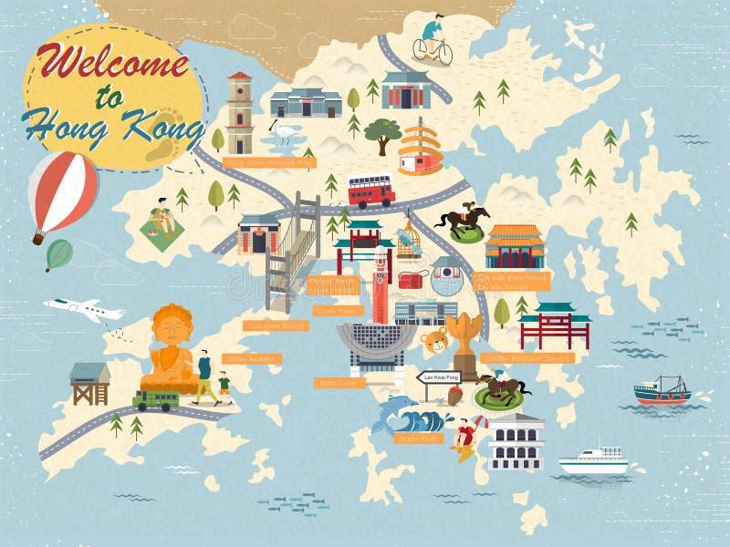 Hong Kong-reiskaart vector illustratie