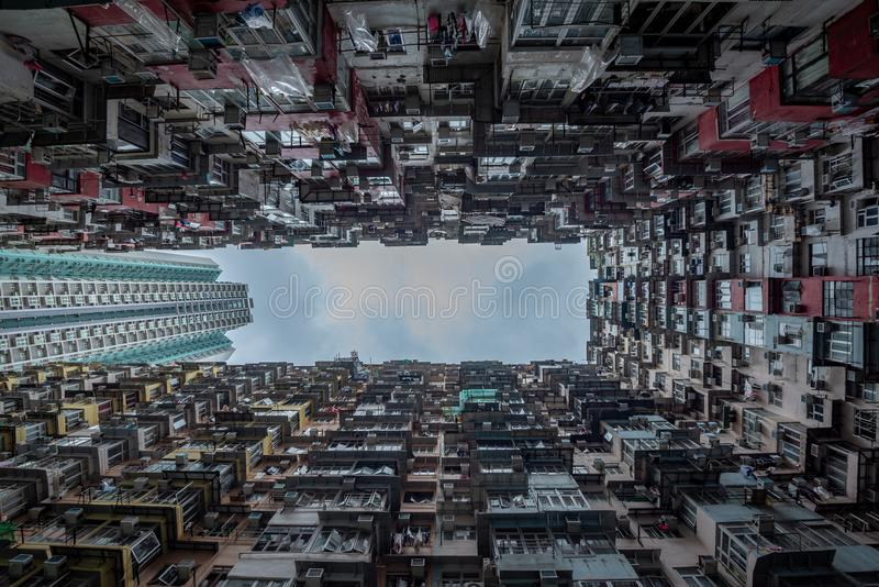 Hong Kong residential density,Old apartment royalty free stock photography