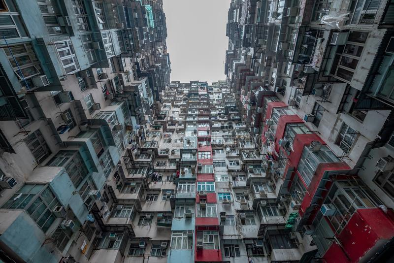 Hong Kong residential density,Old apartment royalty free stock photo