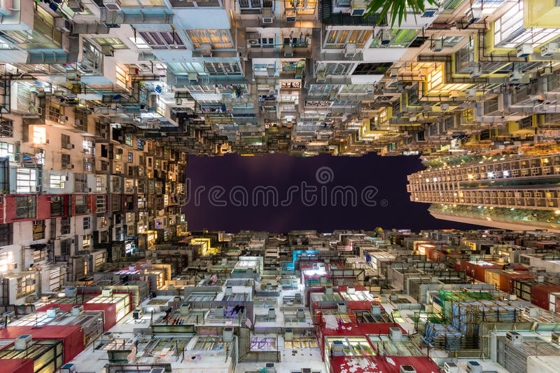 Hong Kong Residential old multi color architecture estate China stock photos