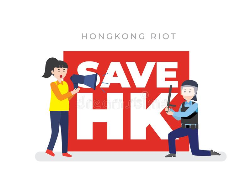Hong Kong riot police clash with protesters 2019. Illustration for Hong Kong riot police clash with protesters 2019 vector illustration