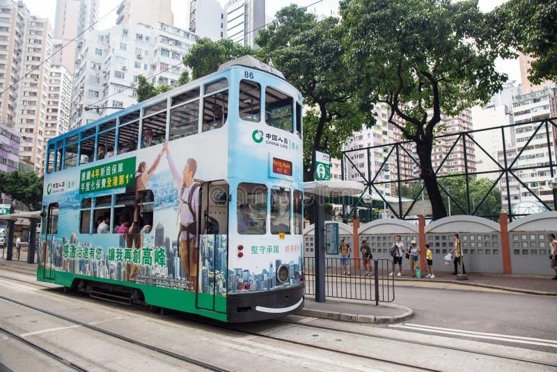Hong Kong S a r - 22 settembre 2017: Tram del doppio ponte sul fotografia stock libera da diritti