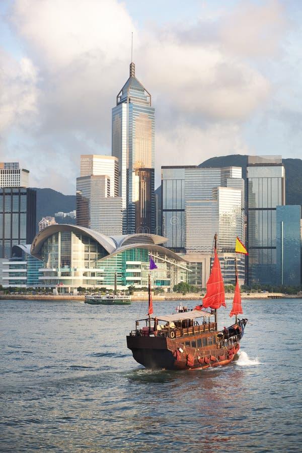 Hong Kong's traditional old junk ship sailing stock image