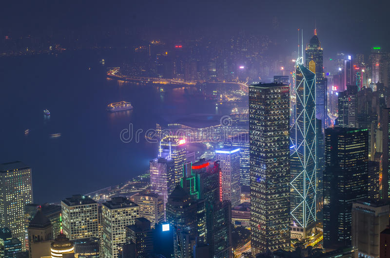 Hong Kong the scenes, victoria harbour from the peak bird view. Hong Kong the scenes, victoria harbour from the peak bird view, in the mist with bad weather in royalty free stock photography