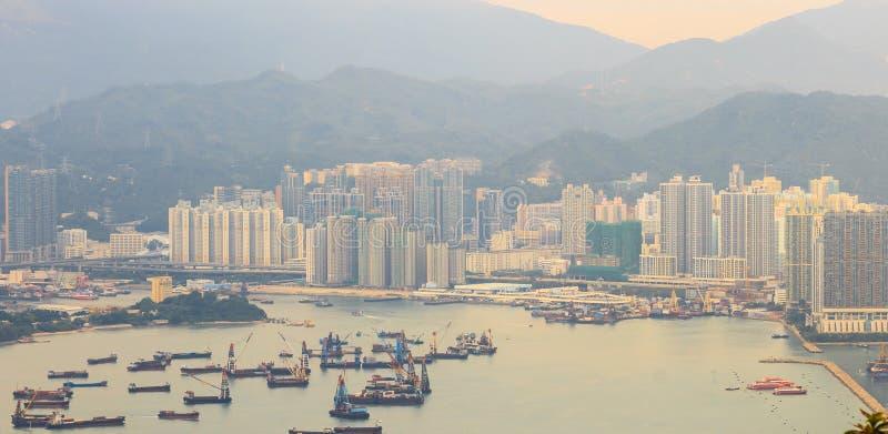 Hong Kong schronienia i miasta widok zdjęcie stock