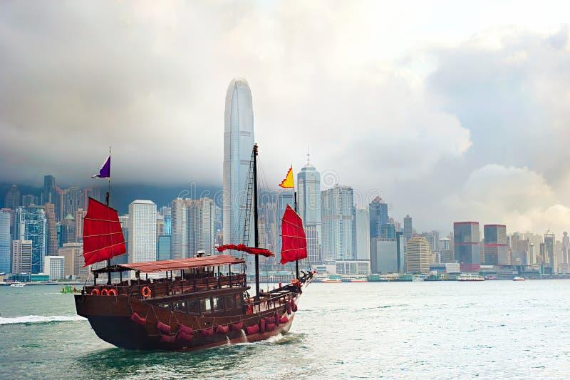 Hong Kong-Segelboot lizenzfreies stockbild