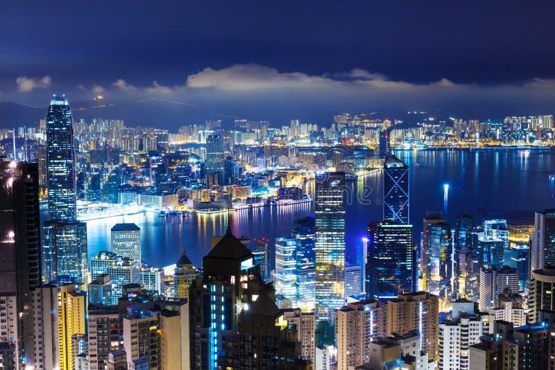 Hong Kong sent - natt royaltyfri bild
