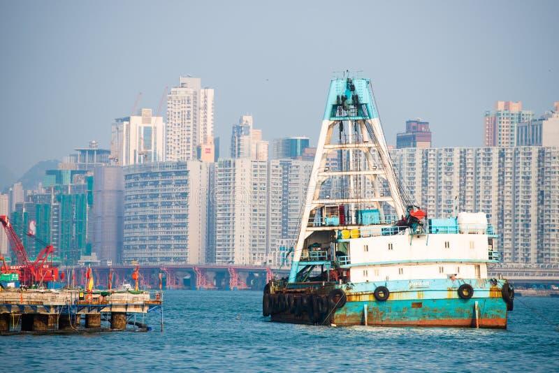 Hong Kong - September 23, 2016 :boat transport in Victoria harbor at Hong Kong Island. Landmark royalty free stock photo