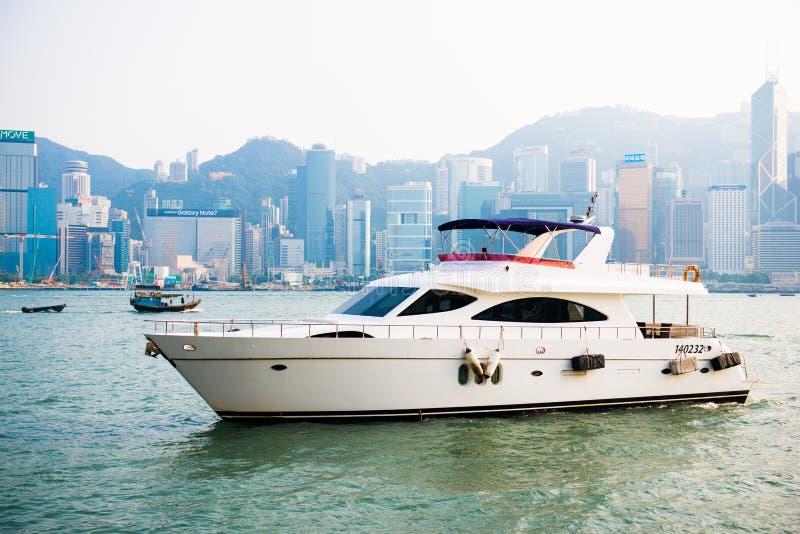 Hong Kong - September 23, 2016 :Passenger boat in Victoria harbor at Hong Kong Island. Landmark royalty free stock photo