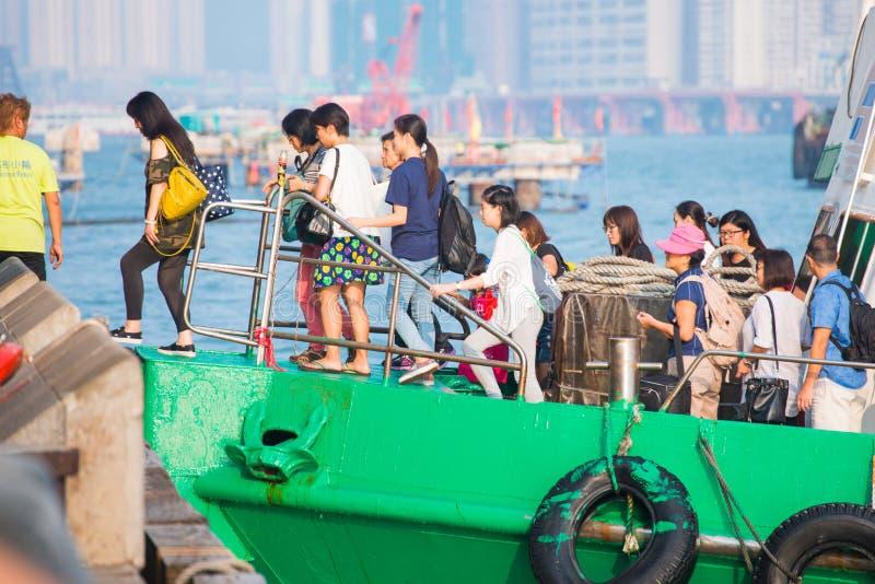 Hong Kong - September 23, 2016 :Passenger boat in Victoria harbor at Hong Kong Island. Landmark stock photos