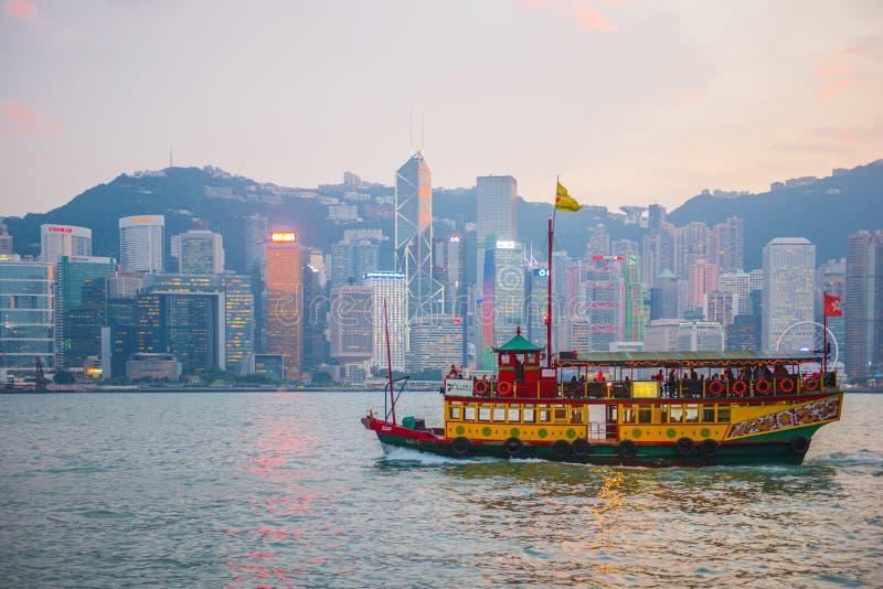 Hong Kong - September 23, 2016 :Passenger boat in Victoria harbor at Hong Kong Island. Landmark stock images