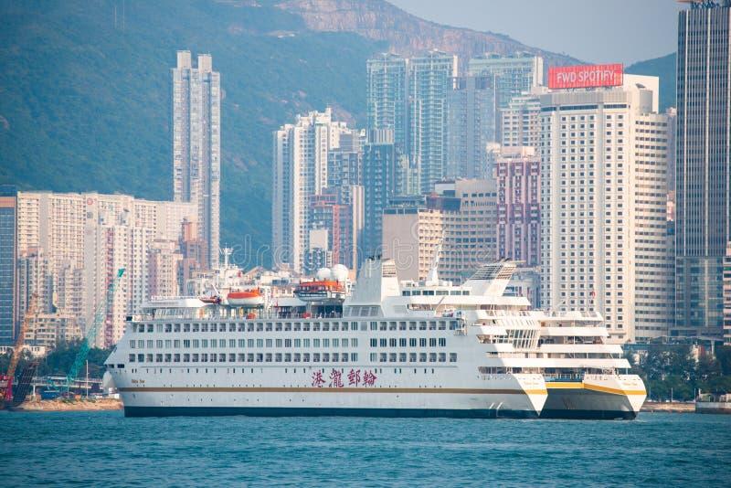 Hong Kong - September 23, 2016 :Passenger boat in Victoria harbor at Hong Kong Island. Landmark royalty free stock image