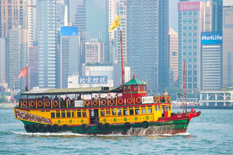 Hong Kong - September 23, 2016 :Passenger boat in Victoria harbor at Hong Kong Island. Landmark royalty free stock photography