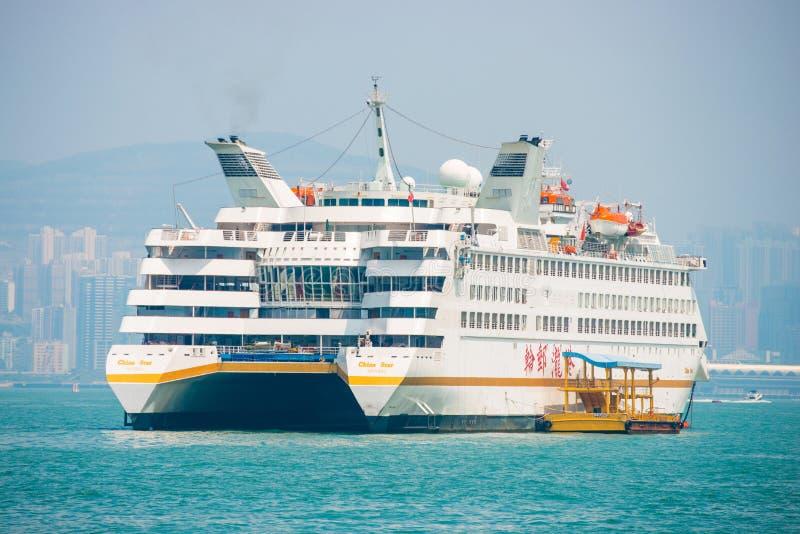 Hong Kong - September 23, 2016 :Passenger boat in Victoria harbor at Hong Kong Island. Landmark stock image