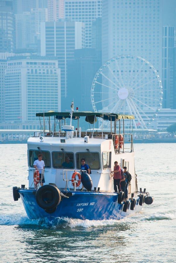Hong Kong - September 23, 2016 :Passenger boat in Victoria harbor at Hong Kong Island. Landmark royalty free stock images