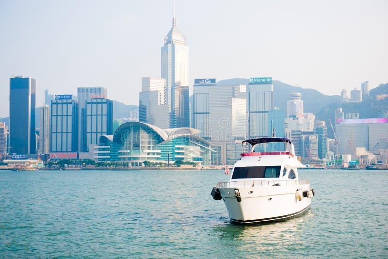 Hong Kong - September 23, 2016 :Passenger boat in Victoria harbor at Hong Kong Island. Landmark stock photography