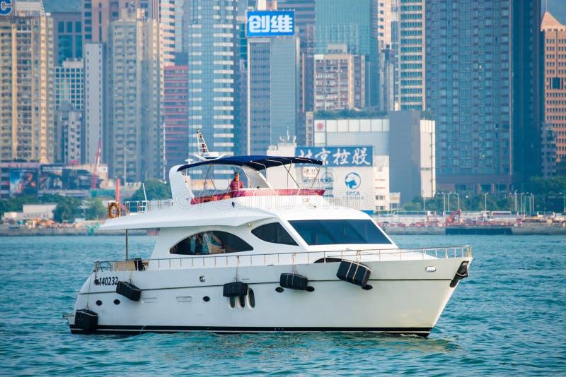 Hong Kong - September 23, 2016 :Passenger boat in Victoria harbor at Hong Kong Island. Landmark royalty free stock photos