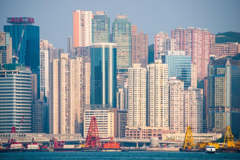 Hong Kong - September 23, 2016 :View of skyscrapers near Victoria harbor at Hong Kong Island in Hong Kong. High-rise buildings stock photos