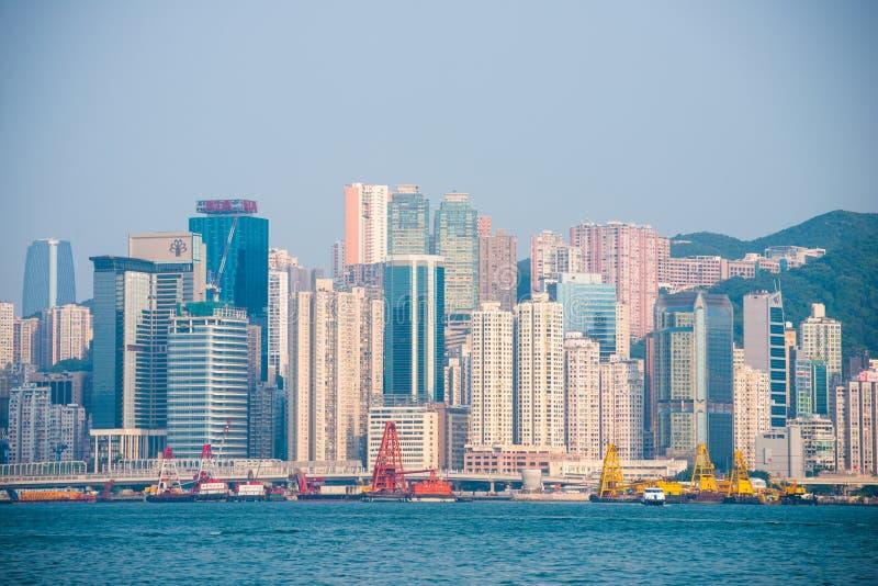 Hong Kong - September 23, 2016 :View of skyscrapers near Victoria harbor at Hong Kong Island in Hong Kong. High-rise buildings royalty free stock photography