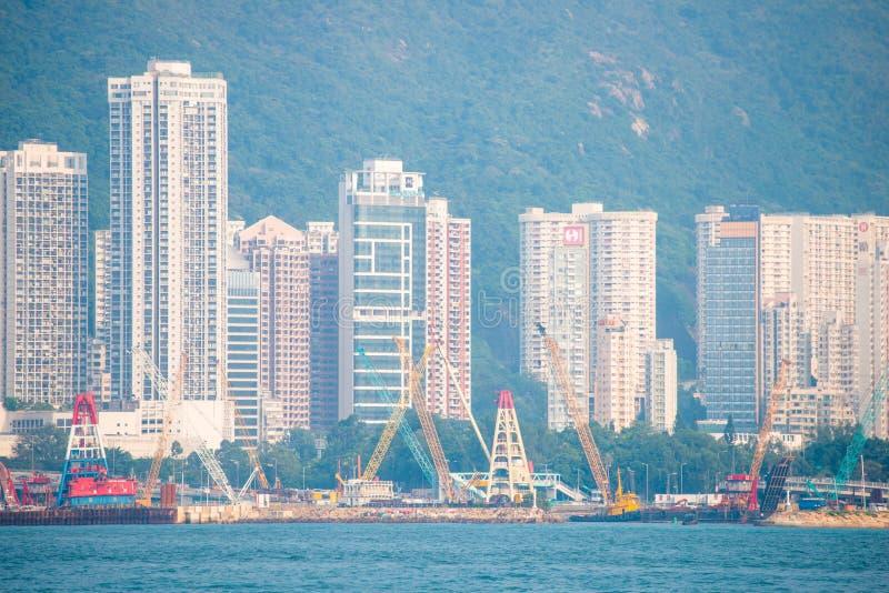 Hong Kong - September 23, 2016 :View of skyscrapers near Victoria harbor at Hong Kong Island in Hong Kong. High-rise buildings stock photo