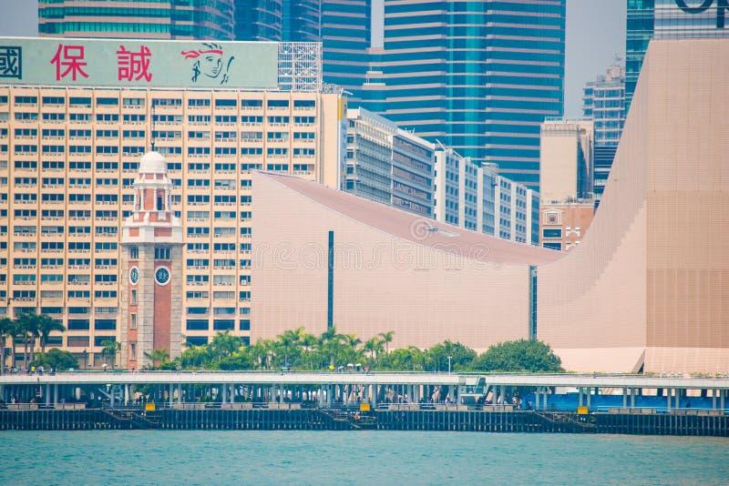 Hong Kong - September 23, 2016 :View of skyscrapers near Victoria harbor at Hong Kong Island in Hong Kong. High-rise buildings stock image
