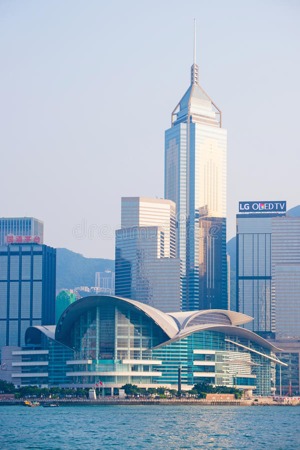 Hong Kong - September 23, 2016 :View of skyscrapers near Victoria harbor at Hong Kong Island in Hong Kong. High-rise buildings royalty free stock photos