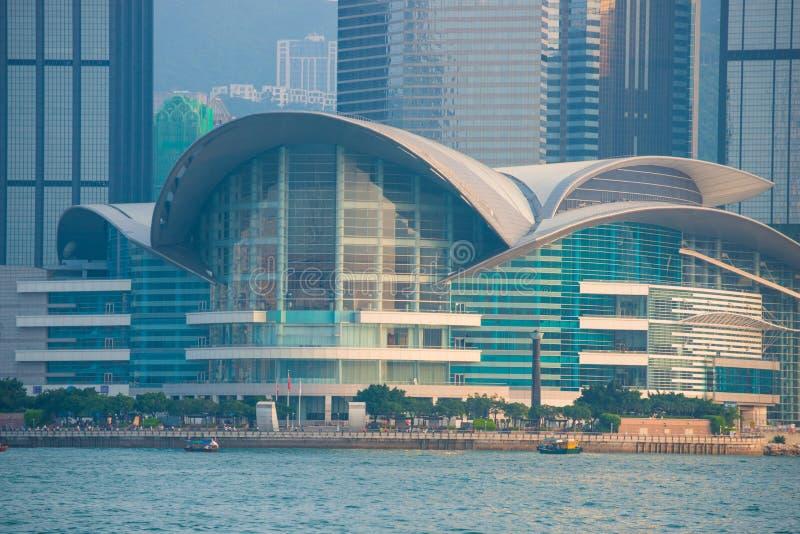 Hong Kong - September 23, 2016 :View of skyscrapers near Victoria harbor at Hong Kong Island in Hong Kong. High-rise buildings stock photography