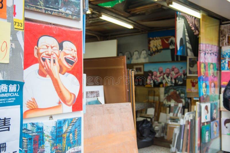 Hong Kong - 23 septembre 2016 : : peinture chinoise dans le sto antique images libres de droits