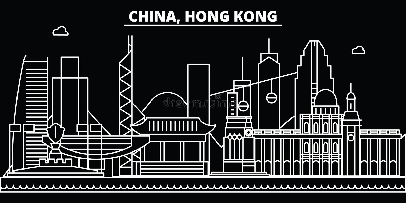 Hong Kong-silhouethorizon De vectorstad van China - van Hong Kong, Chinese lineaire architectuur, gebouwen Hong Kong-reis stock illustratie
