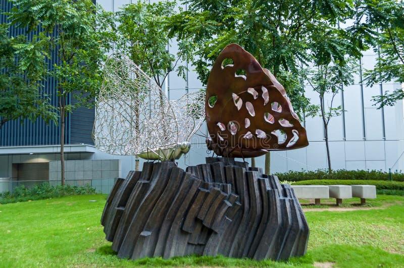 Hong Kong-Skulptur, Schmetterlingsstatue stockfotos
