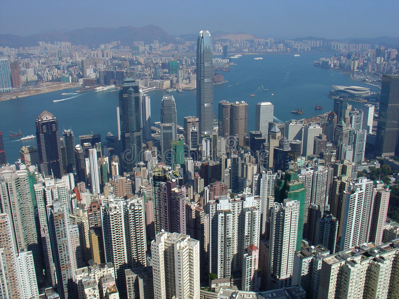 Hong Kong Skyline. View from The Peak with Victoria Harbour in the background