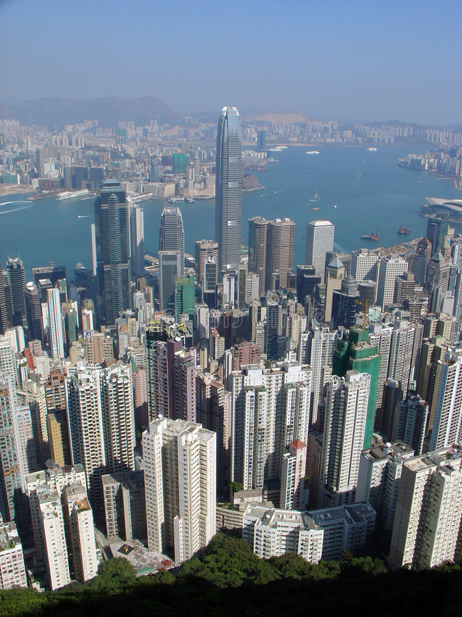 Hong Kong skyline. View from The Peak with Victoria Harbour in the background and the International Financial Centre building in the center